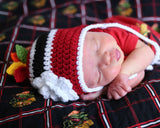 baby girl crochet hockey hat feathers newborn photography