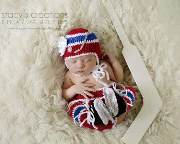 Montreal Canadiens Baby Girl Crochet Hat, Diaper Cover, Socks and Skates