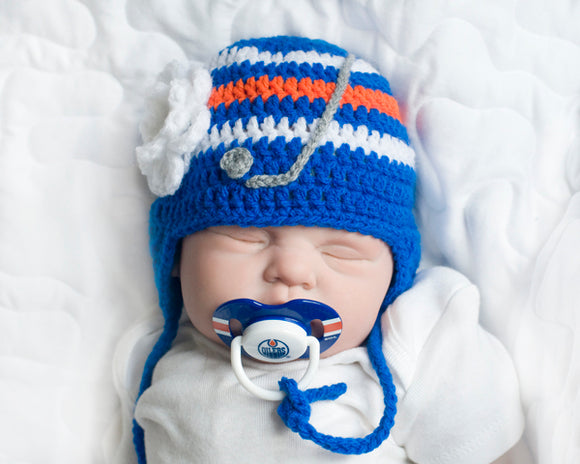 Baby Girl Crochet Edmonton Oilers Hat & NHL Pacifier
