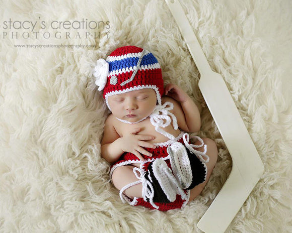 Girls Red White Royal Blue Hockey Hat Diaper Skates Outfit