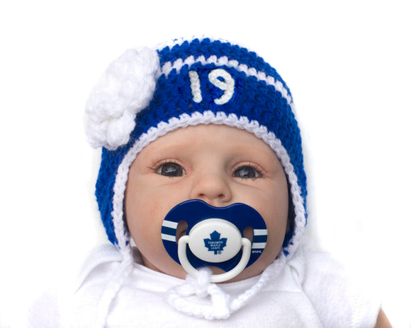 Baby Crochet Boy Hat & NHL Toronto Maple Leafs Pacifier