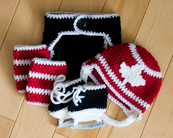 Team Canada Red White Maple Leaf Baby Hockey Helmet Diaper Cover Socks & Skates