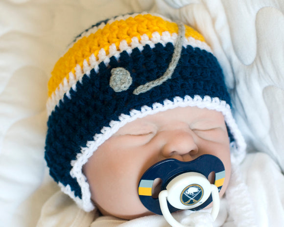 Baby Crochet Hockey Hat & NHL Buffalo Sabres Pacifier