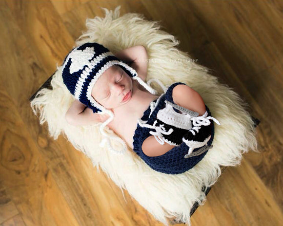 Crochet Navy Blue White Maple Leafs Hockey Newborn Photography