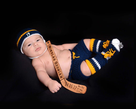 Crochet Baby Boy Hockey Helmet Navy Blue Gold Outfit Newborn Photography