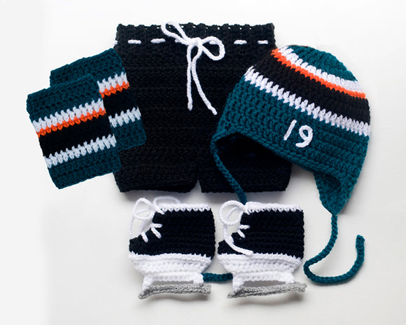 Sharks Hockey Baby Boy Crochet Outfit Teal Black Orange White