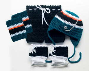 Baby Boy San Jose Sharks Crochet Hockey Outfit