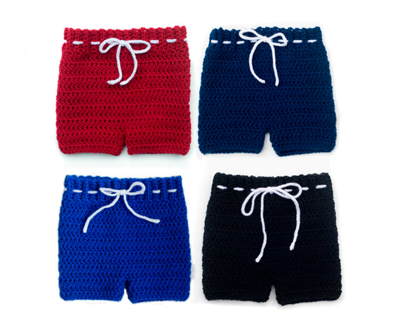 baby boy crochet hockey pants shorts red blue black