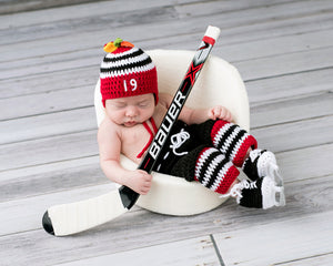 Red Black Boys Blackhawks Hockey Hat Pants Socks Skates Outfit