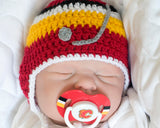 Baby Boy Crochet Calgary Flames Hat & NHL Pacifier