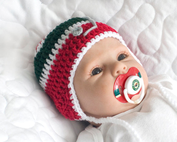 Crochet Baby Boy Minnesota Wild Red Hockey Hat & NHL Pacifier