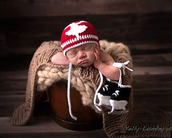 crochet hockey maple leaf hat baby photography skates