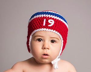 Baby Boy Crochet Montreal Canadiens Hockey Hat Red White Blue Photography