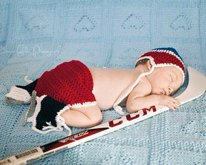 Baby Crocheted Hockey Hat Diaper Cover & Skates Outfit Red Royal Blue