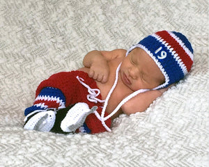 Red White Royal Blue Rangers Hockey Hat Pants Socks Skates Outfit