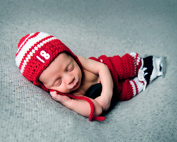 Red White Hockey Hat Pants Socks Skates Outfit Photography