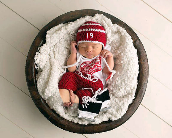 Crochet Baby Red Wings Hockey Hat Pants Skates Photography