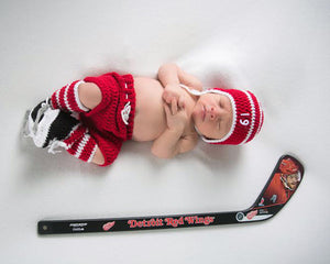 Red Wings White Hockey Hat Pants Socks Skates Newborn Photography