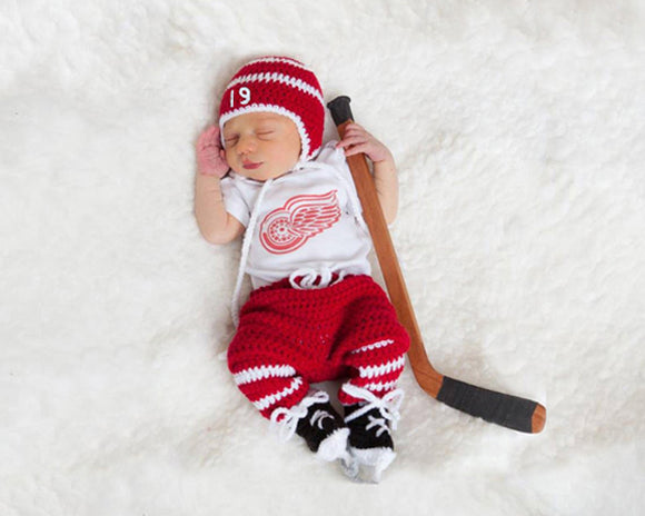 Red Wings White Hockey Hat Pants Socks Skates Outfit Newborn Photography