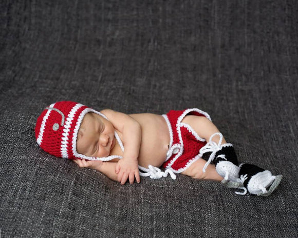 Baby Boy Crochet Hockey Hat Diaper & Skates Photography