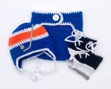 Crochet Baby Boy Hockey Newborn Outfit royal Blue Orange
