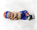 Crochet Baby Boy Hockey Royal Blue Orange Hat Pants Socks Skates Islanders Oilers