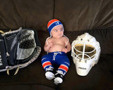 Crochet Baby Boy Hockey Royal Blue Orange Photography Prop