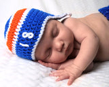 Crochet Baby Boy Hockey Royal Blue Orange Hat Islanders Oilers