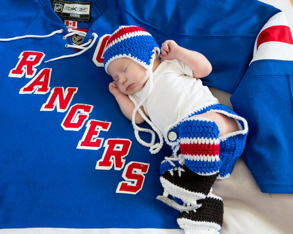 Baby Boy Crochet Hockey Royal Blue Red Hat Skates Outfit