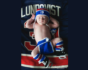 Newborn Photography Baby Boy Hockey Rangers Hat Diaper Cover Socks Skates