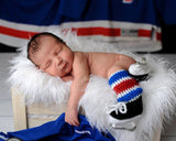 Baby Boy Crochet Hockey Royal Blue Red Socks Skates Photo