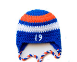 Baby Boy Crochet Hockey Hat Royal Blue Orange White
