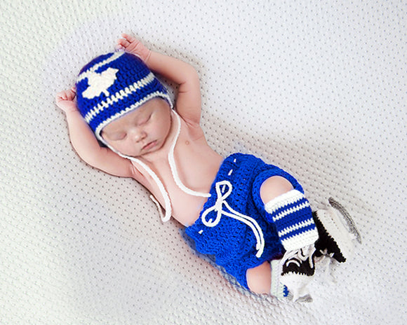 Maple Leafs Hockey Baby Royal Blue Hat Pants Socks & Skates