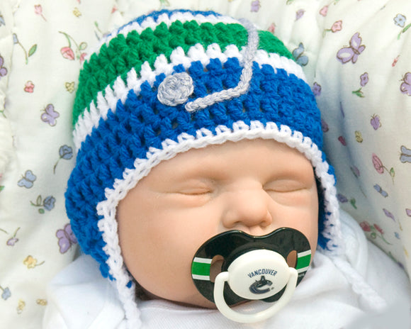 Canucks Hockey Baby Hat & NHL Pacifier Crochet Blue Green