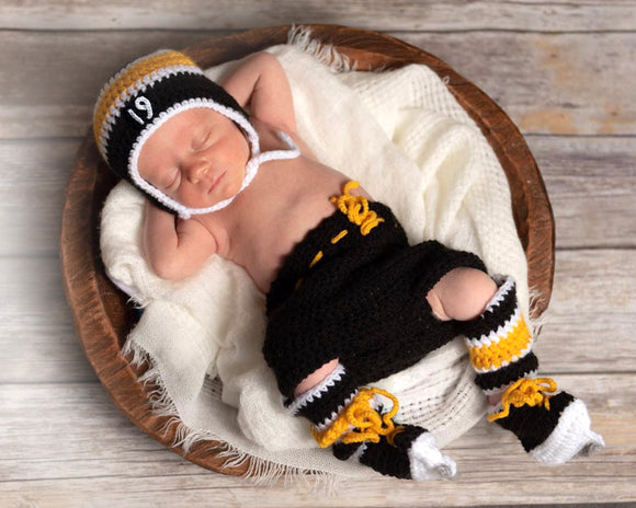 Bruins or Penguins Hockey Crochet Hat Pants Socks & Skates