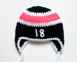 Crochet Baby Girl Hockey Hat Black Hot Pink