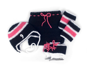 Crochet Baby Girl Hockey Outfit Black Hot Pink