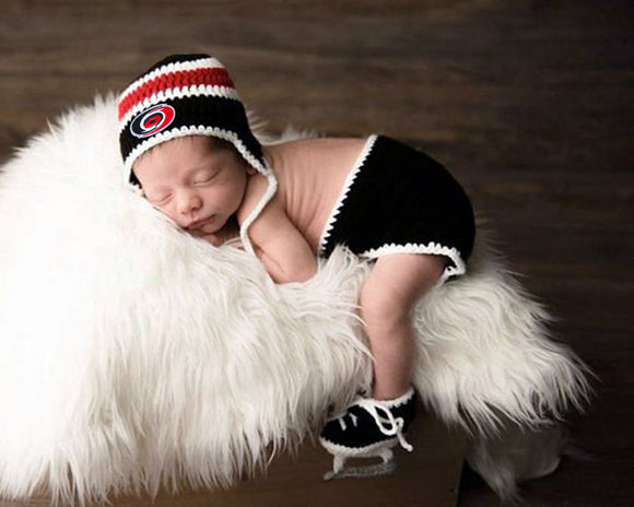 Hurricanes Hockey Baby Crocheted Outfit