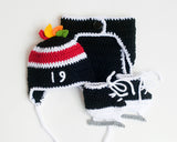 Crochet Baby Boy Chicago Blackhawks Hockey Hat Diaper Cover Skates