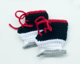 Baby Crochet Hockey Skates Red Laces