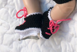 Crochet Baby Girl Hockey Skates Black Hot Pink