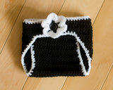Black White Crocheted Diaper Cover with Flower