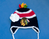 Blackhawks Hockey Logo Baby Girl Crochet Hat