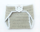 Hockey Baby Girl Crochet Grey Diaper Cover