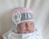 Hockey Baby Girl Crochet Grey Pink White Hat