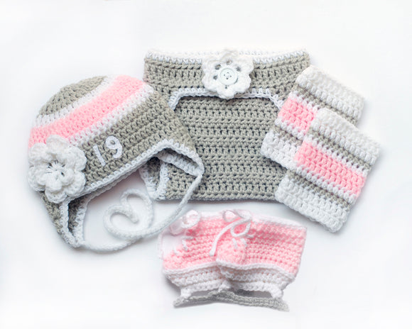 Hockey Baby Girl Crochet Grey Pink White Outfit