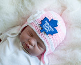 Maple Leafs Hockey Logo Baby Pink Crochet Hat