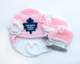 Maple Leafs Hockey Logo Baby Pink Hat and Skates