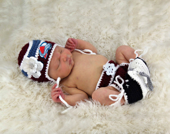 Avalanche Hockey Logo Baby Girl Crochet Hat Diaper Cover & Skates