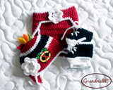 Blackhawks Hockey Logo Baby Girl Crochet Skates Outfit